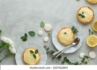 Mini Tarts with custard lemon cream flatlay. copy spase