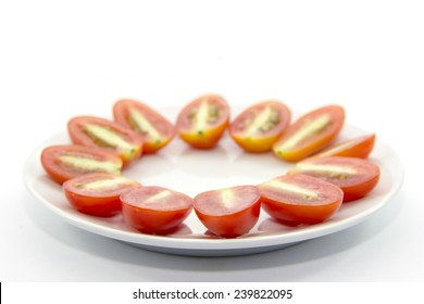 Mini tomato cross section sliced on white plate and white background