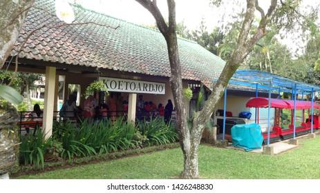 Mini train station in nusantara flower garden , cisarua, west java, indonesia. photo taken in june 2019