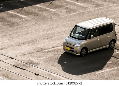 """The mini van car brand """"Daihatsu"""" parking in Sapporo parking area in the morning on 25 October 2016 at 7.00 AM."""