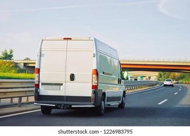 Mini van on the highway road in Slovenia.