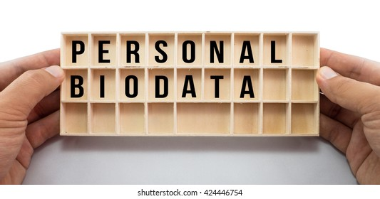 Mini wood rack box in boy's hands with Personal Biodata words. Isolated on white background