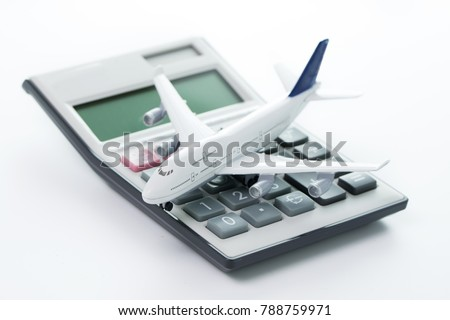 miniature airplane model calculator travel budget stock photo edit