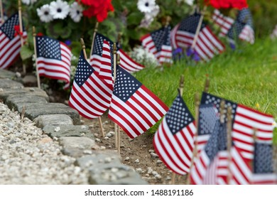 Miniature American flags decorate a garden on the 4th of July.