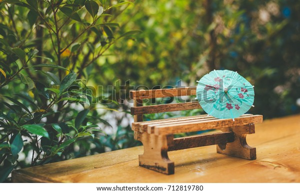 Pleasing Miniature Aqua Umbrella On Miniature Wooden Stock Photo Short Links Chair Design For Home Short Linksinfo