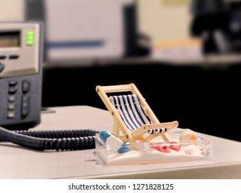 Miniature Beach Chair on Office Desk