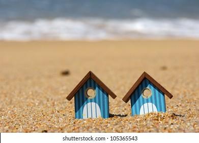 Miniature beach huts at the beach