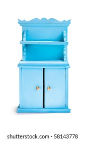 Miniature blue cupboard on white background