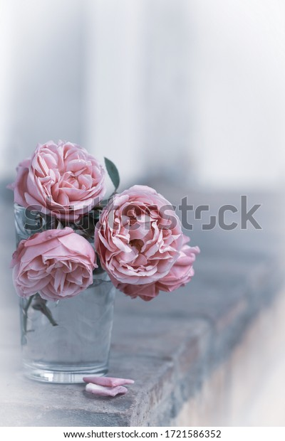 A miniature bouquet of their delicate pink roses in a transparent glass. Vintage style, simple still life for a romantic postcard.