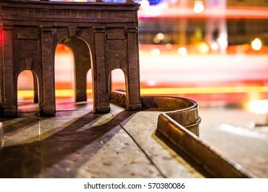 Miniature bridge with long bokeh