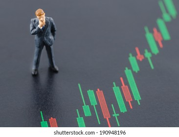 miniature business man standing on the candlestick stock chart
