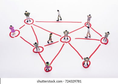 Miniature business people in connection scheme over white backdrop or background.
