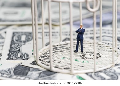 Miniature businessman inside birdcage on pile of dollar banknotes metaphor of limited thinking or money trap.