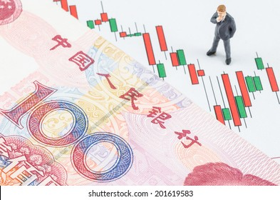 miniature businessman standing with Chinese banknote on the candlestick stock chart