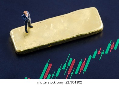miniature businessman standing on the candlestick chart with gold bar