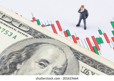 miniature businessman standing with US dollar on the candle stock chart