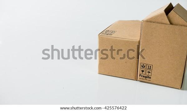 Miniature Cardboard Boxes Fragile Wording Symbol Stock Photo