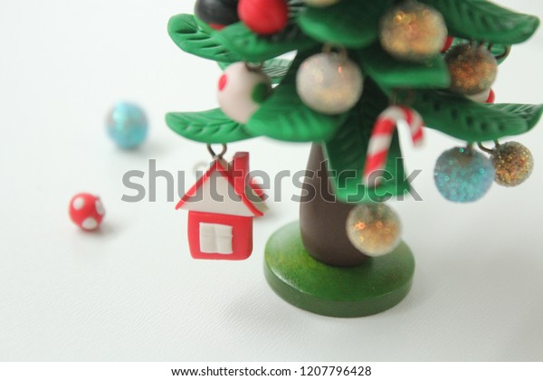 Polymer Clay Christmas Tree.Miniature Christmas Tree Made Polymer Clay Stock Photo Edit