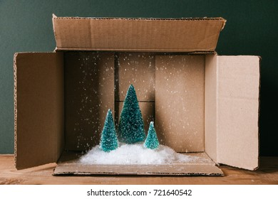 Miniature of Christmas trees with snow in a cardboard box. Concept of magic Christmas present