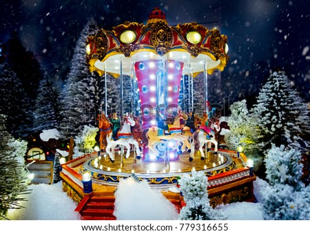 Miniature Christmas Village Scene Christmas Decorations Stockfoto