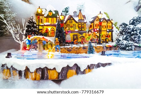 Miniature Christmas Village Scene Christmas Decorations Stock Photo