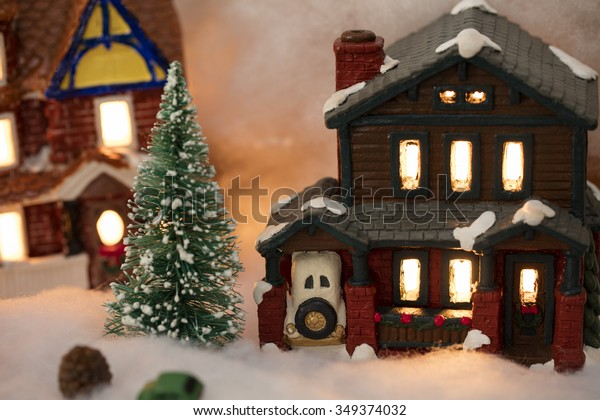 Christmas Village Houses.Miniature Christmas Village Scene Houses Trees Stock Photo