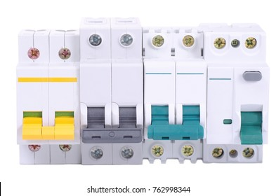 Miniature circuit breakers and double-pole residual-current device on white background.
