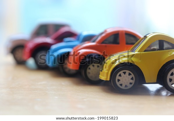 Red White And Blue Auto Sales >> Miniature Colorful Cars Standing Line Showroom Arkistokuva
