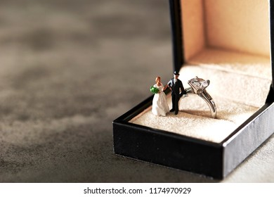 Miniature couple with engagement ring