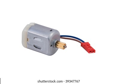 Miniature DC motor isolated on white