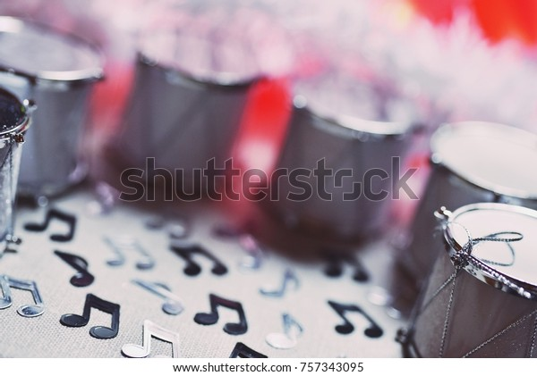 Christmas Drum Decor.Miniature Drums Circle Christmas Decor Musical Stock Photo