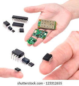 Miniature elctronic circuit board on hand. The photo on the white background