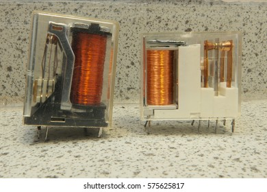 Miniature electrical relays suitable for many electrical & electronics applications belonging to a school in west Wales, UK in February 2017.