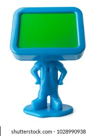 Miniature figure with empty board instead a head. Blue toy on white background with clipping path.