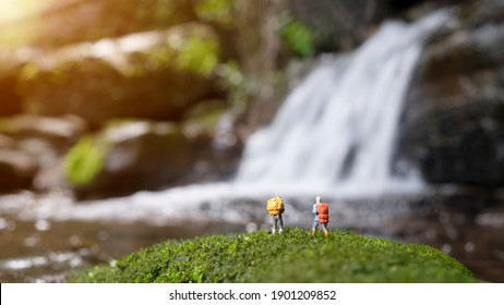 Miniature figure people backpack standing in forest with nature background