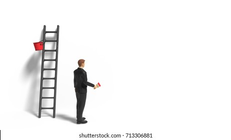 miniature figurine businessman character with ladder and red paint in front of a wall