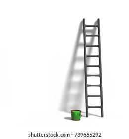 miniature figurine ladder and green paint in front of a wall isolated with shadow on white background