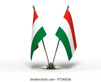 Miniature Flag of Hungary  (Isolated with clipping path)