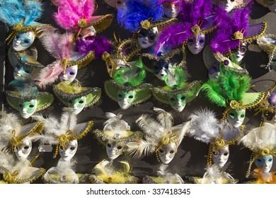 Miniature of  full-face Venetian  masks for Carnival of Venice, Italy
