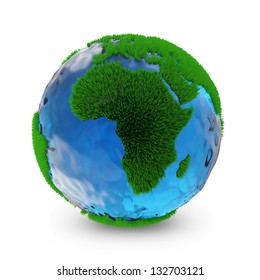 Miniature Green Earth Planet isolated on white background. Ecology Concept