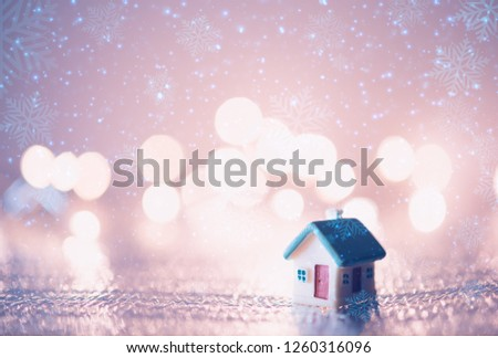 miniature house blue roof on blurred stock photo edit now rh shutterstock com