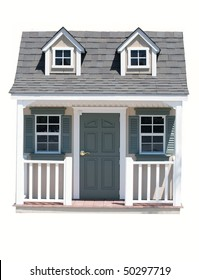 A miniature house, isolated on white, which would be good for real estate, home ownership, downsizing, tiny house concept. The house is an American traditional style in gray with white trim and gables