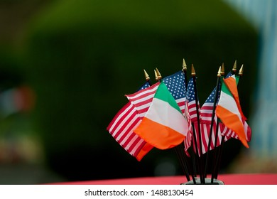 Miniature Irish and American flags used as a table decoration at a 4th of July party.