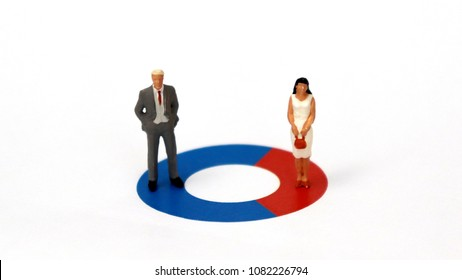 A miniature man and a miniature woman are standing on a donut graph. The concept of the difference between the recruitment rate of men and women in a business.