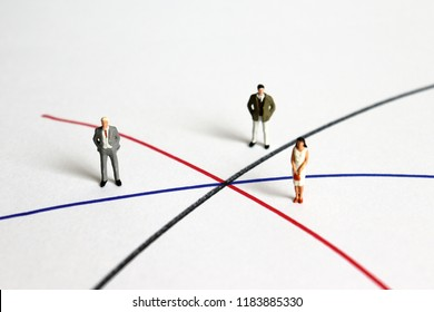 Miniature man and miniature woman standing on different line.