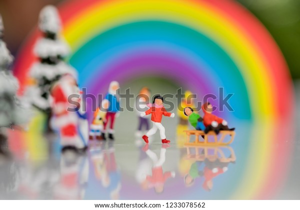Colorful Christmas Background For Kids.Miniature Merry Christmas Happy New Year Stock Photo Edit
