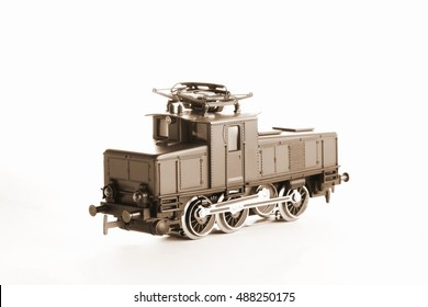Miniature model of electric railroad put on isolated white background scene represent the miniature railroad model toy concept related idea.