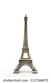miniature model of a golden Eiffel tower on a white background (mock-up)