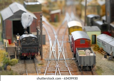 miniature model trains in a freight yard