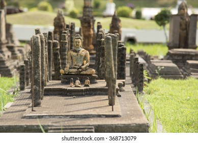 A Miniature Model of Wat Maha That at Mini Siam, Pattaya, Thailand.